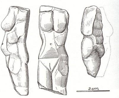 Takto zakreslili Landeckou Venuši archeologové hned na místě jejích nálezu.