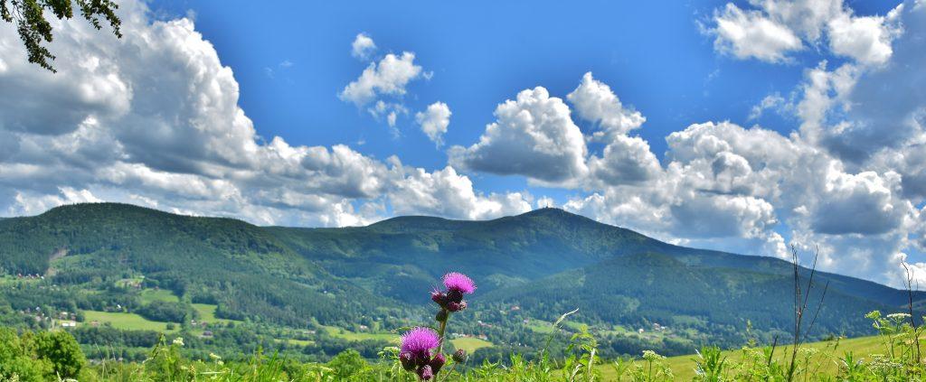 výhled na Lysou horu při cestě na Žár