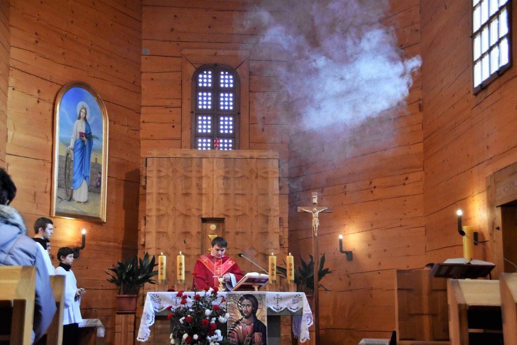 Mše svatá v kostele svaté Kateřiny Alexandrijské.